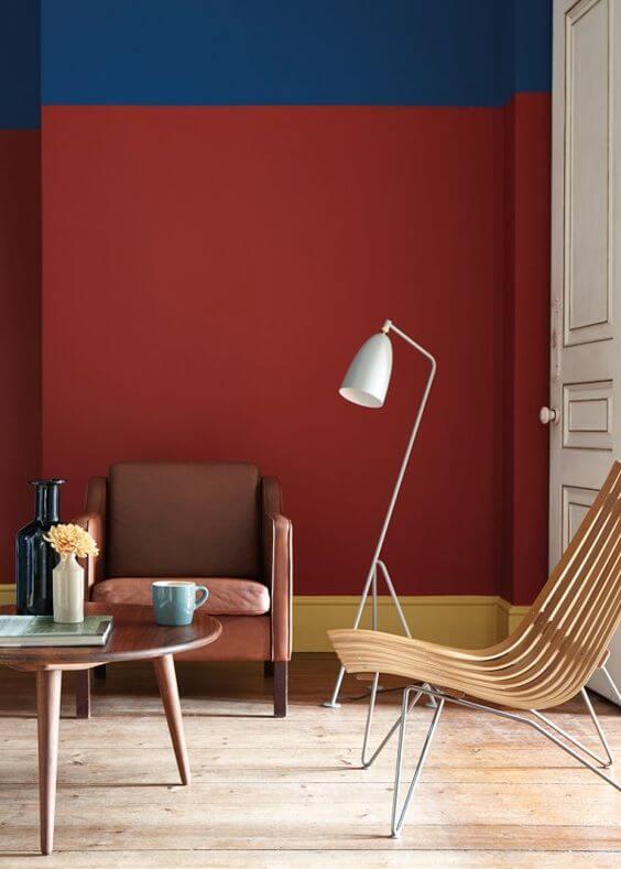 Chambre peint rouge bleu et jaune - Monsieur Peinture