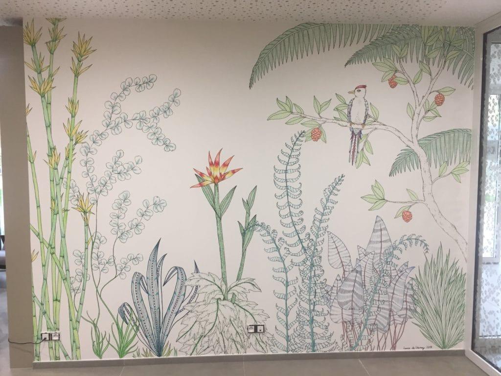 Fresque artistique végétale