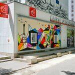 Fresque sur façade d'une agence bancaire