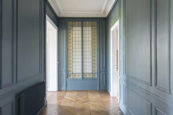 Rénovation d'un parquet en point de Hongrie et peinture