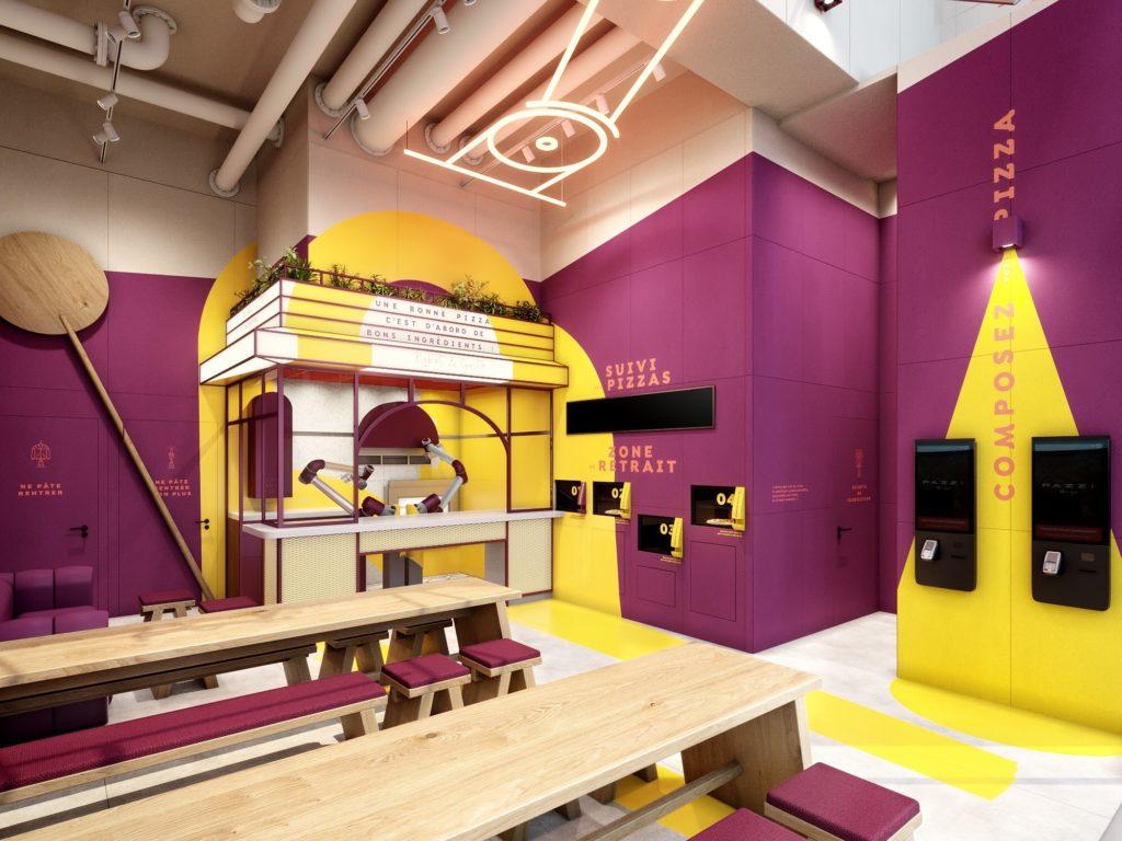 Pazzi - Décor de la 1ère pizzeria robotisée par Monsieur Peinture