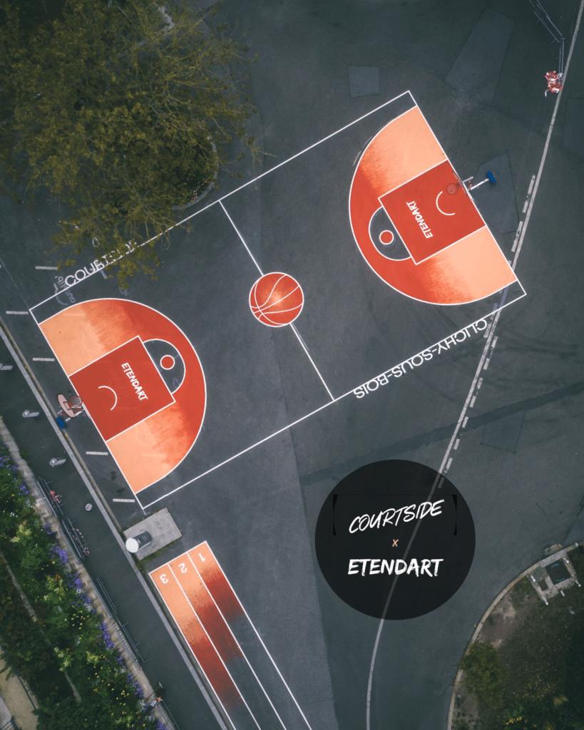 Monsieur Peinture a réalisé les fresques sur le terrain de basketball de Clichy-sous-Bois pour la fête de la ville