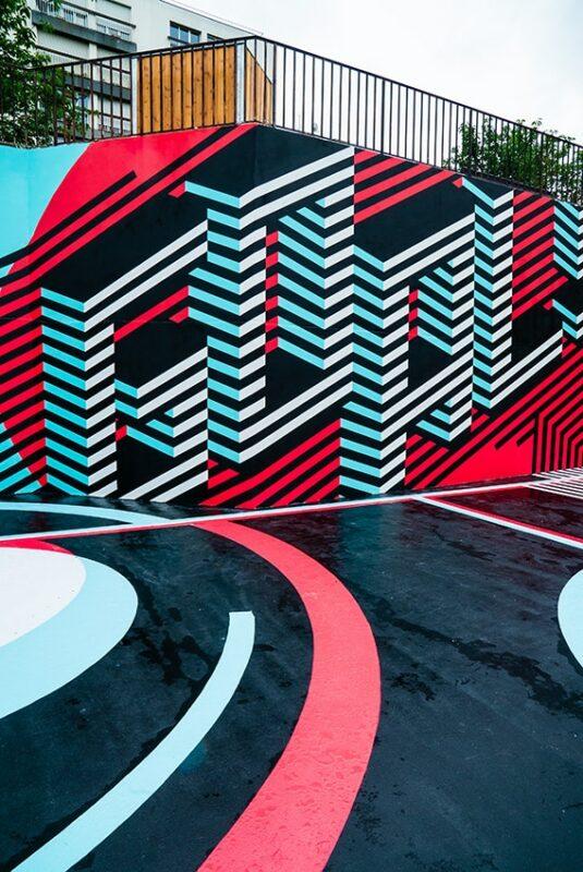 Palm a réalisé une fresque dans le square Serpollet dans le 18e pour Tiktok